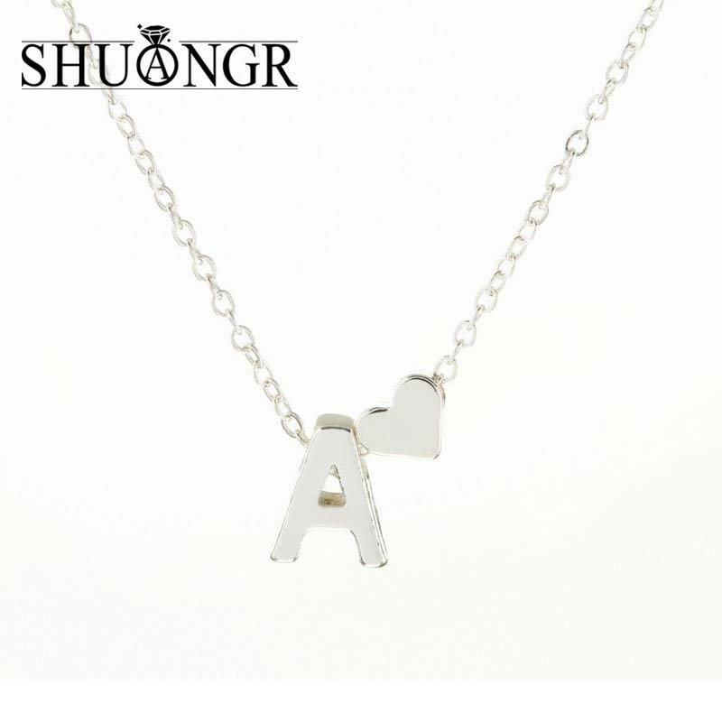 Wholesale SHUANGR Tiny Silver Initial Necklace Silver Letter Necklace  Initials Name Necklaces Pendant For Women Girls .Best Birthday Gift Long  Necklaces ... eb654a029