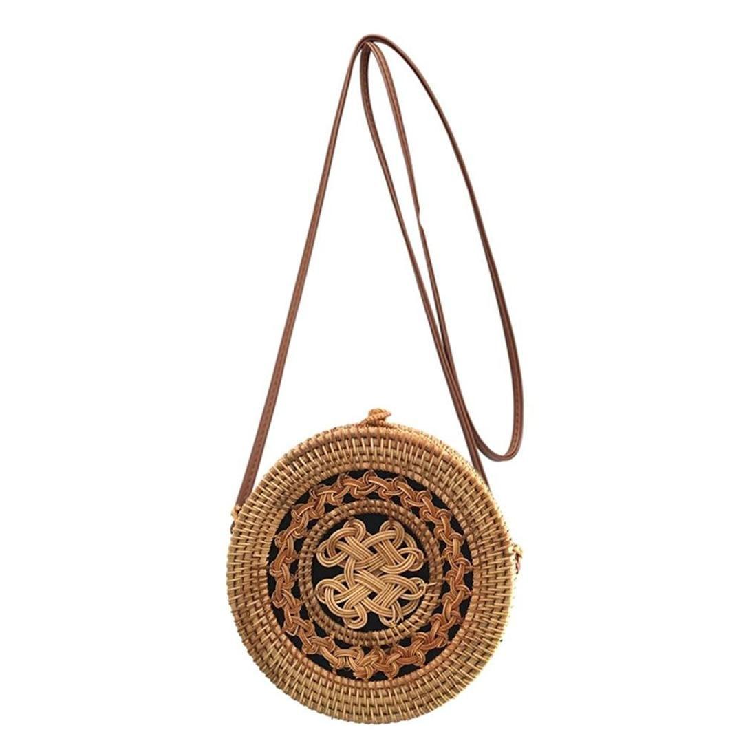 d58a5d6d27a1 DCOS Beach Crossbody Bag Circle Satchel Handbag Women Round Woven Rattan  Straw Shoulder Bags Leather Bags For Women Overnight Bags For Women From  Cutemerry
