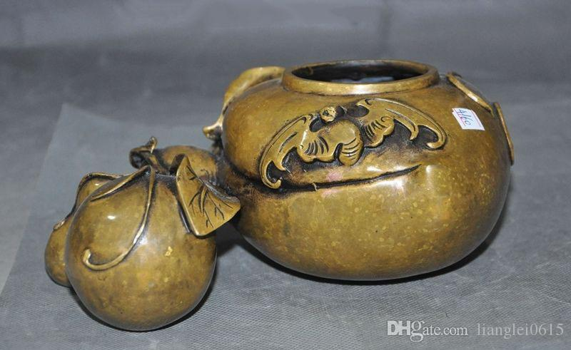 "7""Old Chinese Bronze Wealth fu bat gourd auspicious Lucky Statue pen wash Crock"