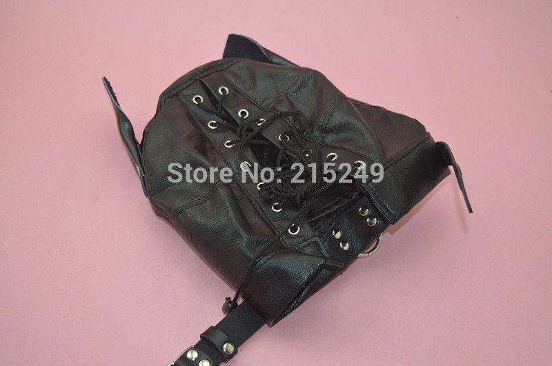 Adjustable PVC Leather Hood Mask Head Bondage Belt Slave In Adult Games,BDSM Fetish Erotic Sex Products Toys For Men And Women
