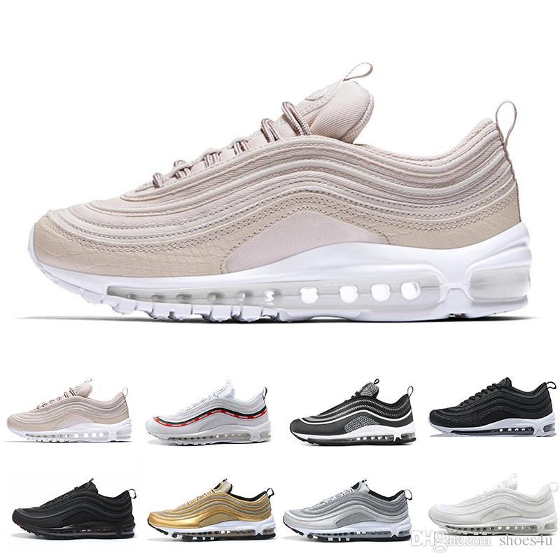 016e6fdc8ca88c Cheap Hot New 97 OG QS Tripel White Black Metallic Gold Silver Bullet PRM WHITE  3M Premium Mens Running Shoes For Men Women Girls Running Shoes Hoka Running  ...