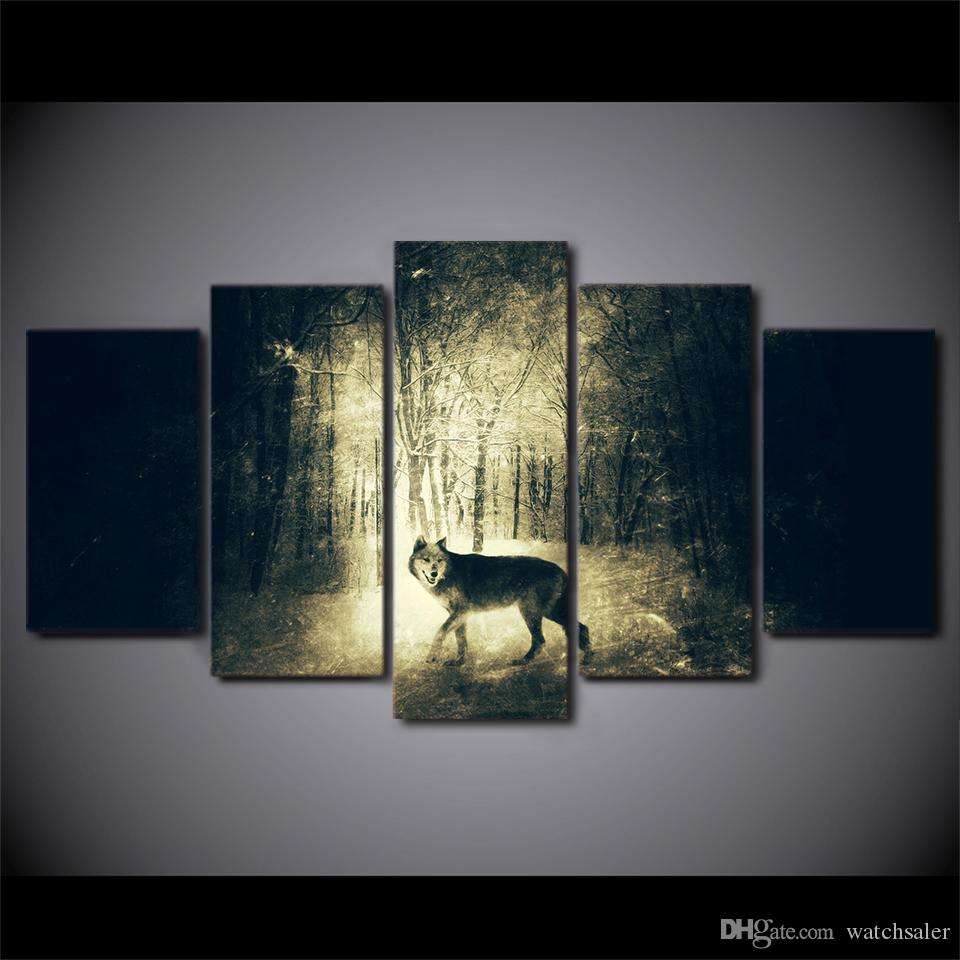 HD printed canvas art wolf in Light and shadow painting wall pictures for living room modern CU-2429A