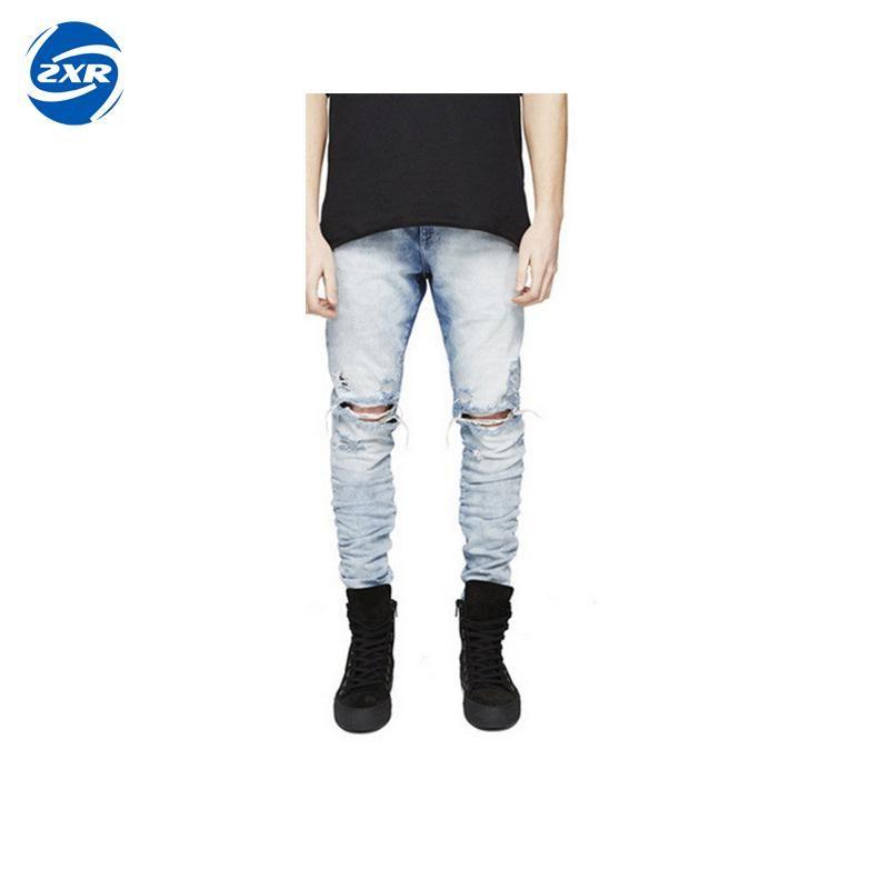 f806c65f3d8d09 Men's Knee Hole Zipper Biker Jeans Men Distressed Moto Denim Joggers ...