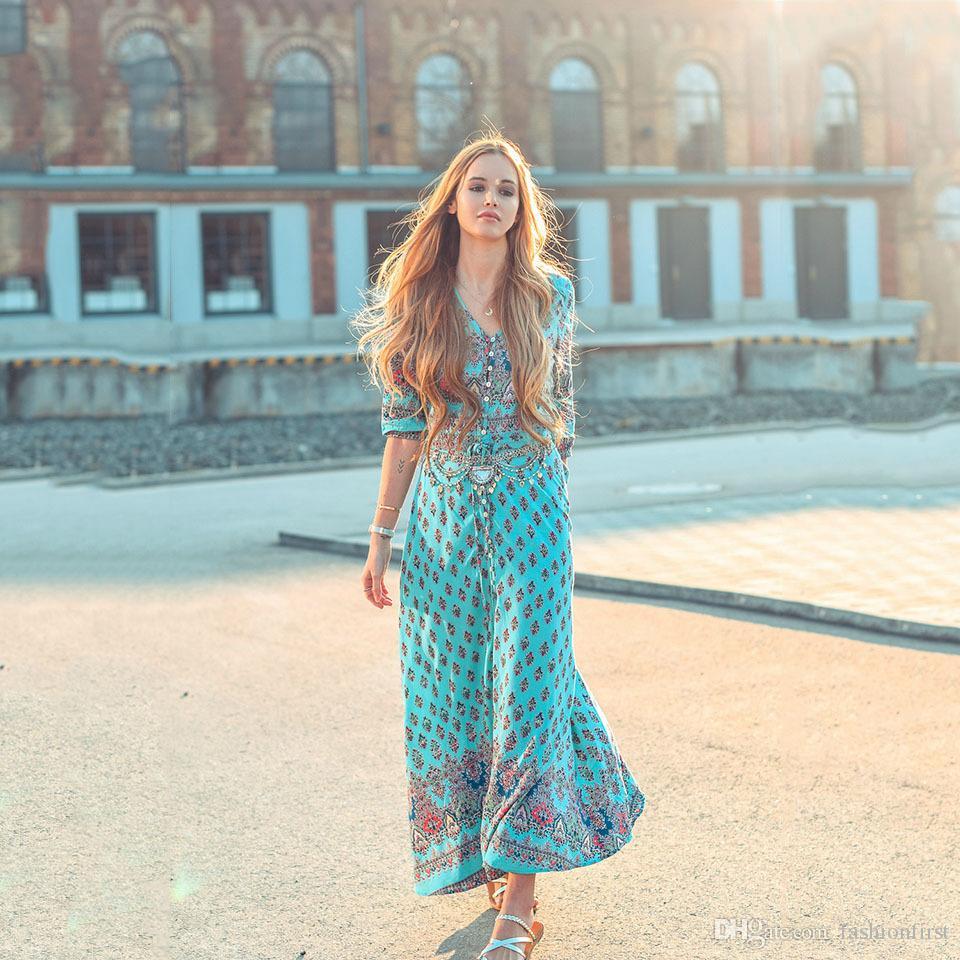 Boho Maxi Dress Print Women\'S Summer Plus Size 3XL Dress Royal ...