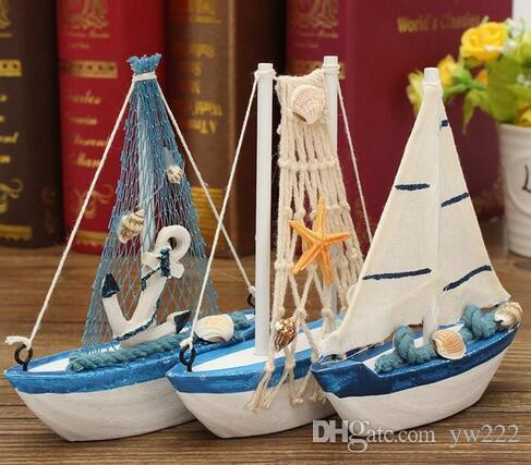 KiWarm Retro Wooden Mediterranean Style Mini Sailing Boat Model Statues Sculptures for Home Desktop Decor Crafts Birthday Gift