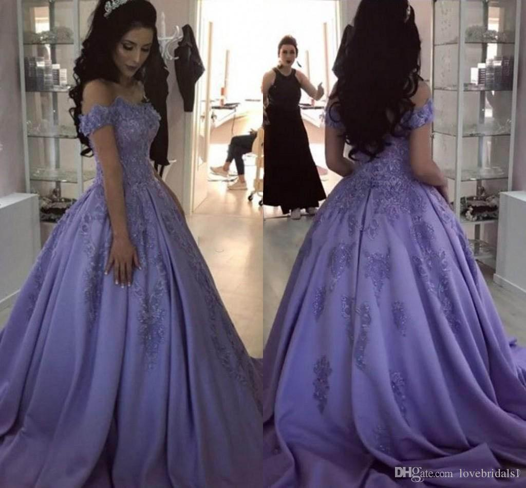 e74fdccdeac Charming Lavender Ball Gown Prom Dresses With Off Shoulder Lace Applique  Floor Length Sweet 16 Satin Plus Size Party Evening Gowns Pregnant Prom  Dresses ...