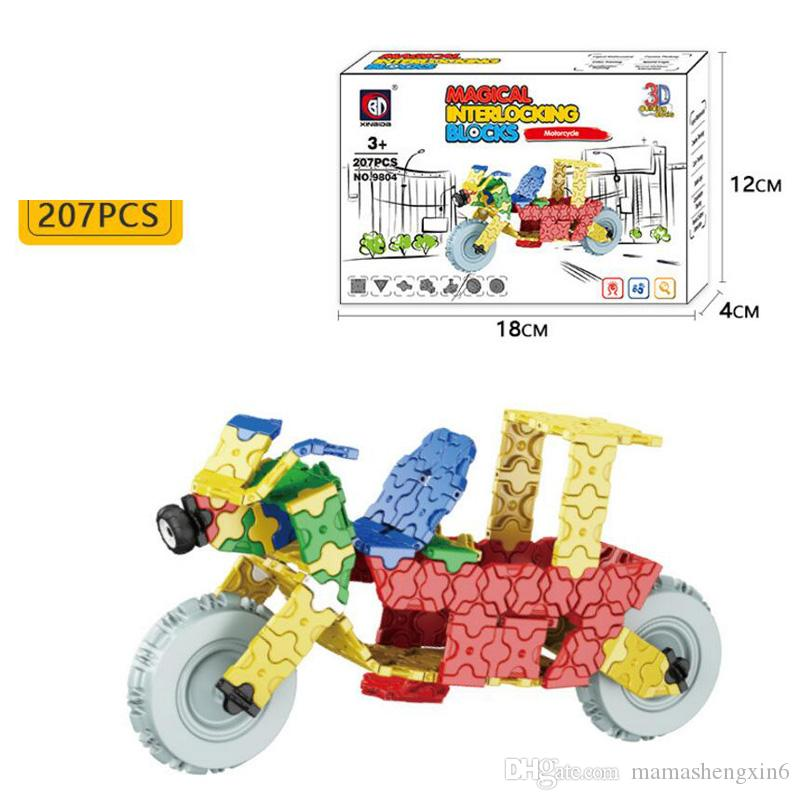 Children 7 Styles ABS Magical Interlocking Blocks Toys Moterbike Plane Vehicle Set Assembled Puzzle Building Blocks Christmas Gifts Blocks