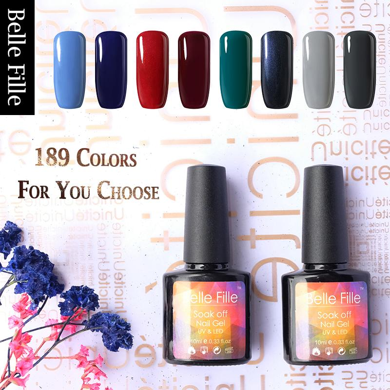 BELLE FILLE UV Gel Nail Polish Color Coat Long Lasting Soak Off Nail Gel  Polish Lacquer Varnish 189colors