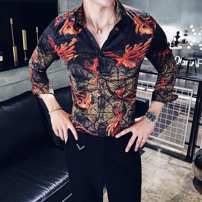 853a5f5beff 2019 Vetement Homme 2018 Autumn Flowers Shirts Mens Fancy Camisa Floral  Masculina Slim Fit Korean Fashion Club Outfits Blusas Social From Luweiha