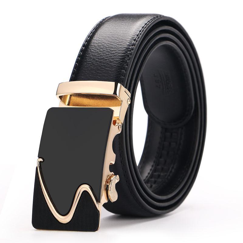 Compre Cinturones De Cuero Genuino De Los Hombres Hebilla Automática  Diseñador De La Marca Cinturón Para Hombre Correa De Alta Calidad De  Negocios Hombre De ... 8d7f66f64bfd