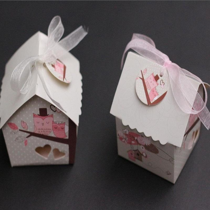 Mini Bird House Candy Box Candy Cookie Gift Boxes With Ribbon For
