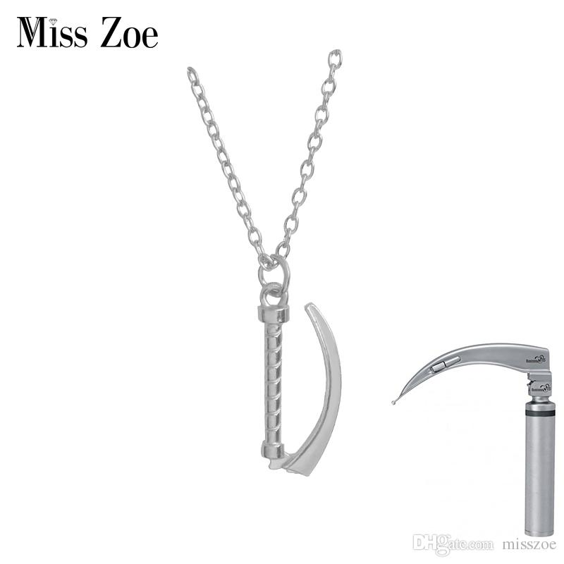 2ff8ce7611 Wholesale Miss Zoe Laryngoscope Pendant Necklace Gold Silver Chemistry Pin  For Emergency Doctor Nurse Science Medical Student Graduation Gift Pearl  Necklace ...