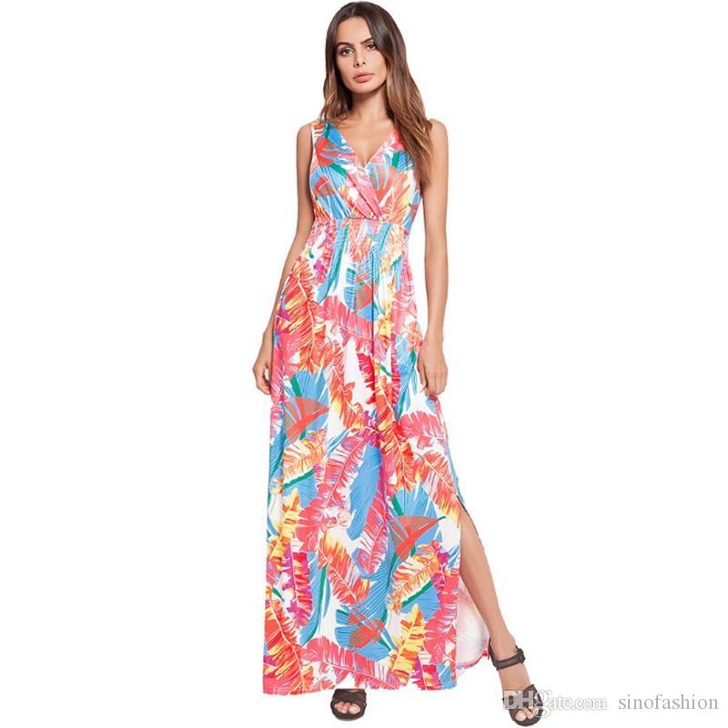 d55557f3f8e Women Beach Dresses High Split Floral Print Long Dress Spaghetti Strap  Sleeveless Casual A Line Dress Chiffon Dresses Girls Party Dresses From  Sinofashion