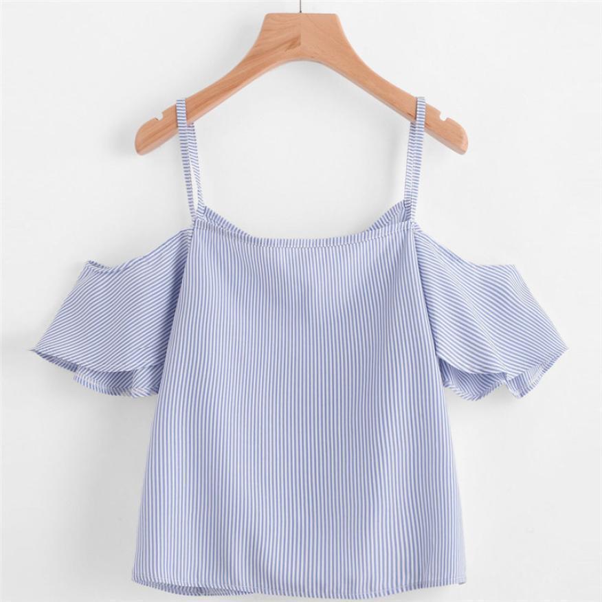 dda899b6cb78da Summer Ladies Cute Pinstripe Shirt Cold Shoulder Fashion V Neck Shirt Lotus  Leaf Blusas Open Shoulder Strap Shoulder Strap Tops Designs Shirts  Interesting T ...