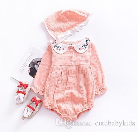 9fc0c0d05155 2019 Baby Girls Embroidery Collar Rompers Spring Fall Baby Boutique Clothing  Hot Sale Infant Toddlers Long Sleeves Plain Bodysuits With Hat From ...