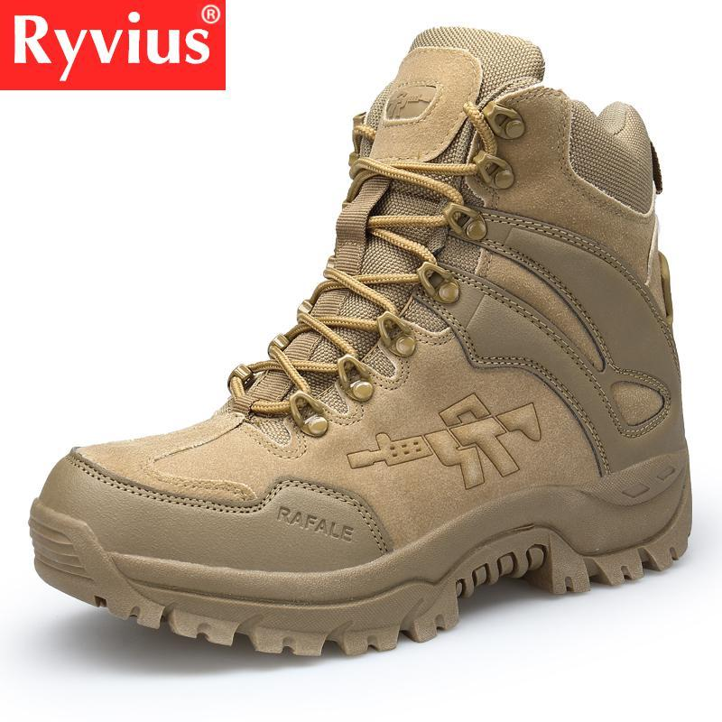 452c7af2d6927 Ryvius Brand 2018 Outdoor High Quality Men s Desert High To Help Tactical  Boots Hiking Shoes Wild Pull Shoes Large Size
