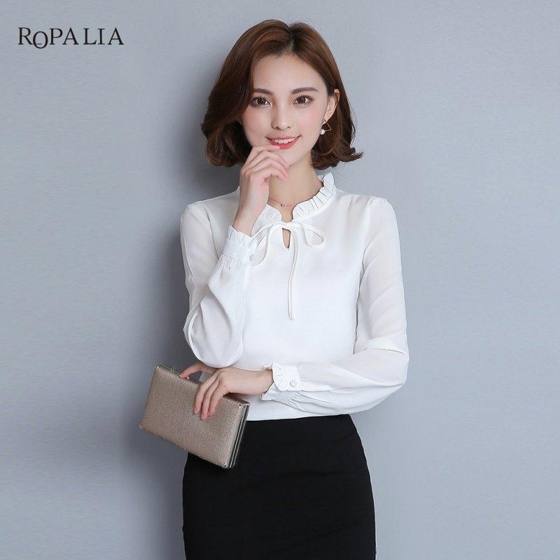 ce0d11b41 Compre Blusa De Gasa De Oficina Para Mujer Camisa Casual Coreana Rosa  Blanca Azul Negro Gasa Mujeres Tops A  21.3 Del Bibei09