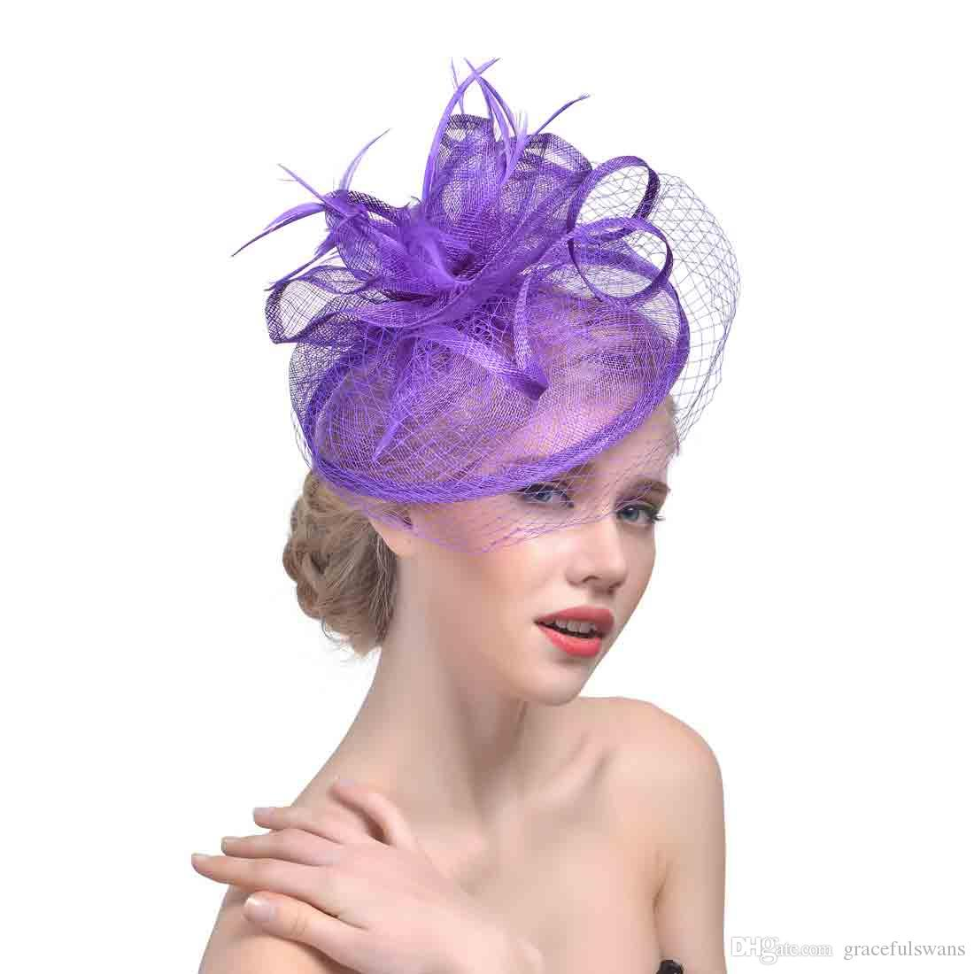 ... Velos faciales Sombreros para mujer Plumas de novia Fascinators  Sombreros de boda 2018 Recién vestidos de ... 09f0bfa5671
