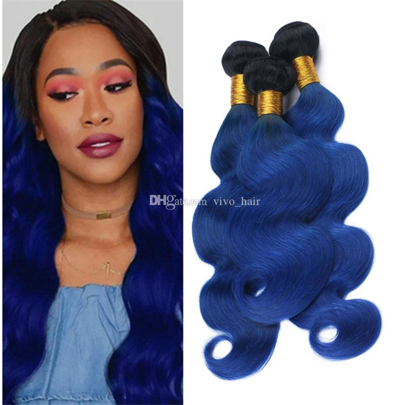 Ombre Blue Human Hair Weave 3 Bundles Body Wave Wavy Dark Blue Ombre