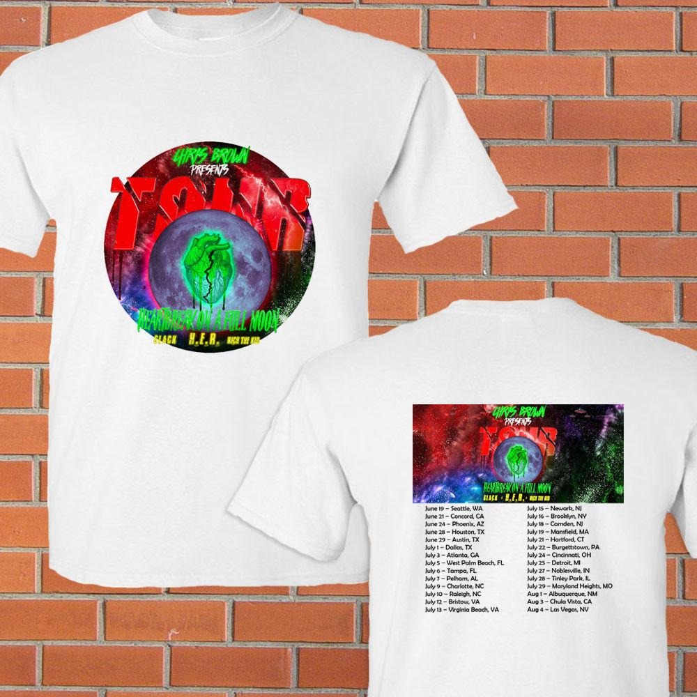 504947756502 Chris Brown Heartbreak Of A Full Moon Summer Tour 2018 White Tee Shirt S  3XL Short Sleeve Tshirt Tops High Quality Cotton Cheap Funny T Shirts Cheap T  Shirt ...