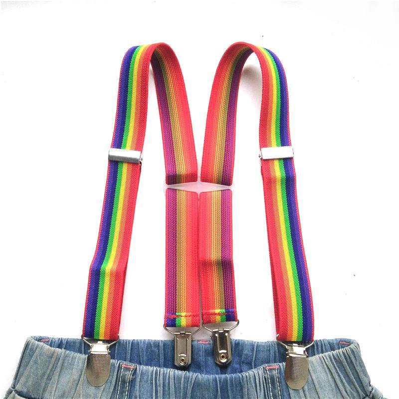 9d99b840f2116 Enfants Safe Plastic Corss Rainbow Suspender Haute élastique Sangle  réglable Supenders garçons filles Bretelles bébé accessoires BD012