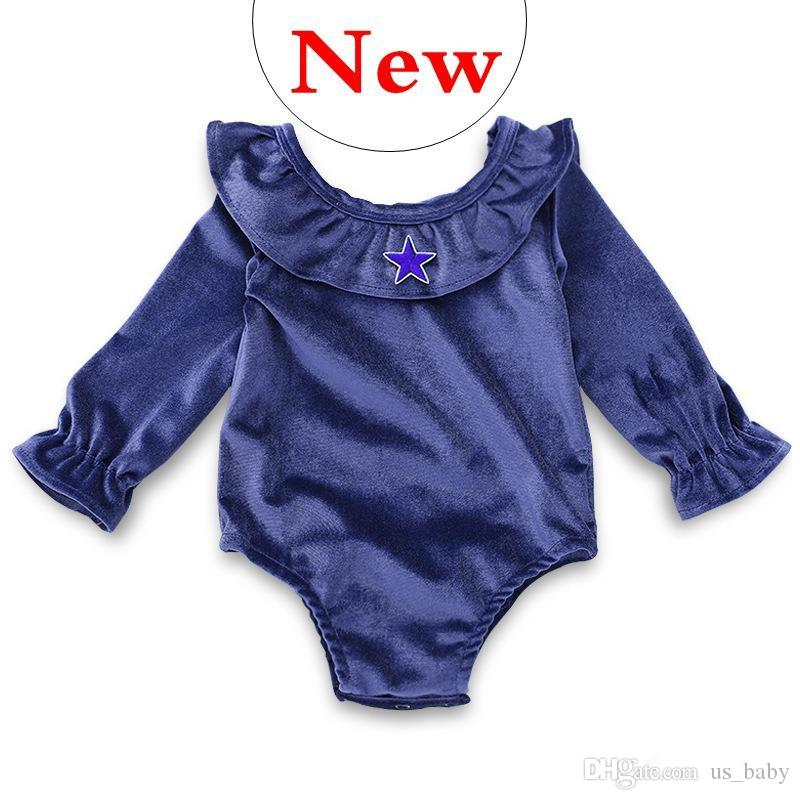 444e7cbb3 INS Baby Lotus Collar Rompers Infant Girl Blue Jumpsuit with Star ...