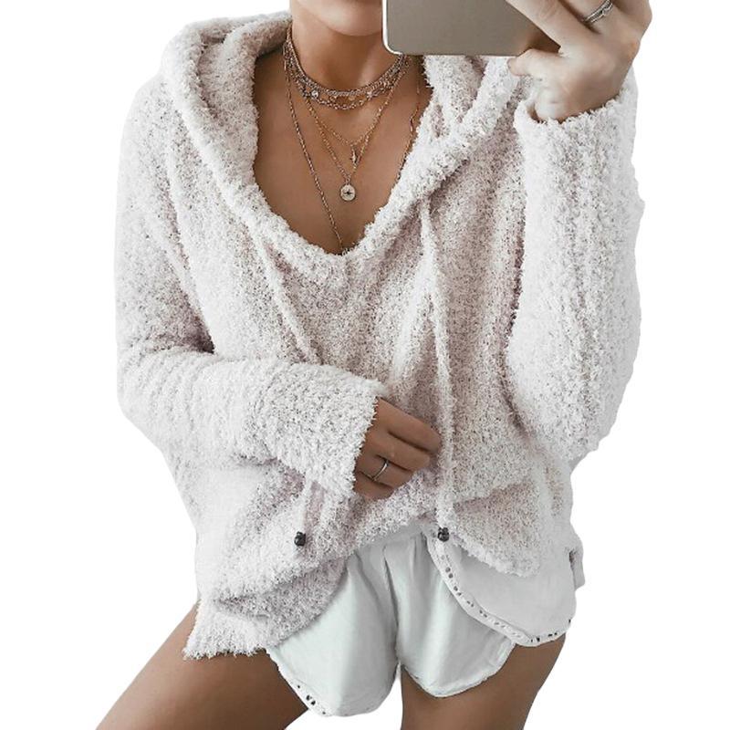 Women Fluffy Mohair Hoodies 2018 Autumn Winter Warm Soft Fleece Sweatshirt  Tops Ladies Drawstring V Neck Loose Pullover Jumper S920 UK 2019 From  Ruiqi02 5cbe36e15
