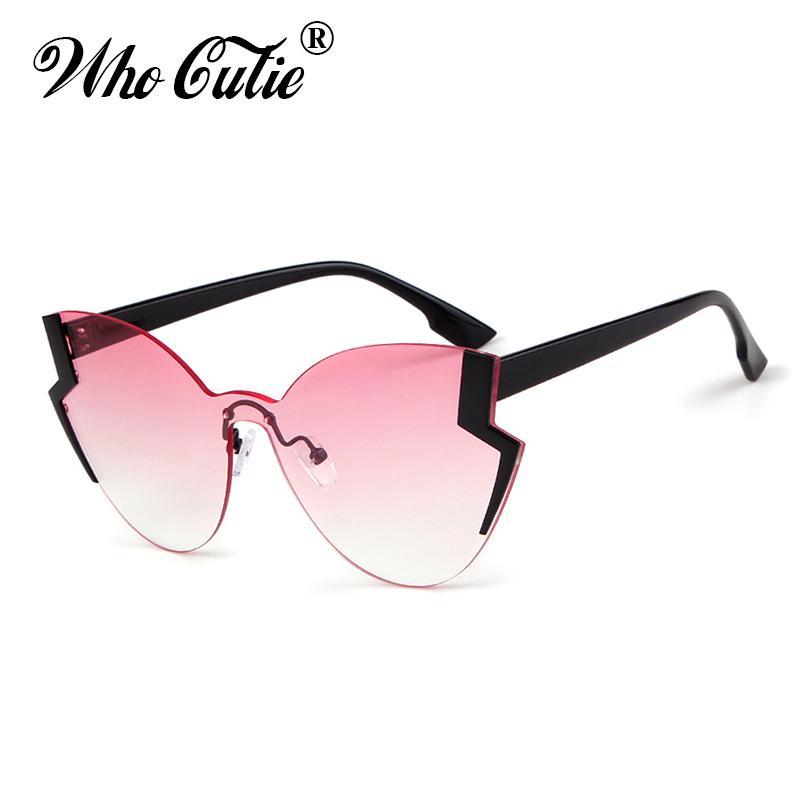 7b5d1ee22b WHO CUTIE 2018 Unique Cat Eye Sunglasses Men Women Brand Design ...