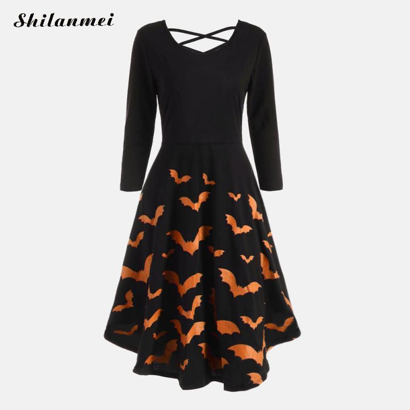 2019 New Black Halloween Costume One Piece Dress V Neck Elegant