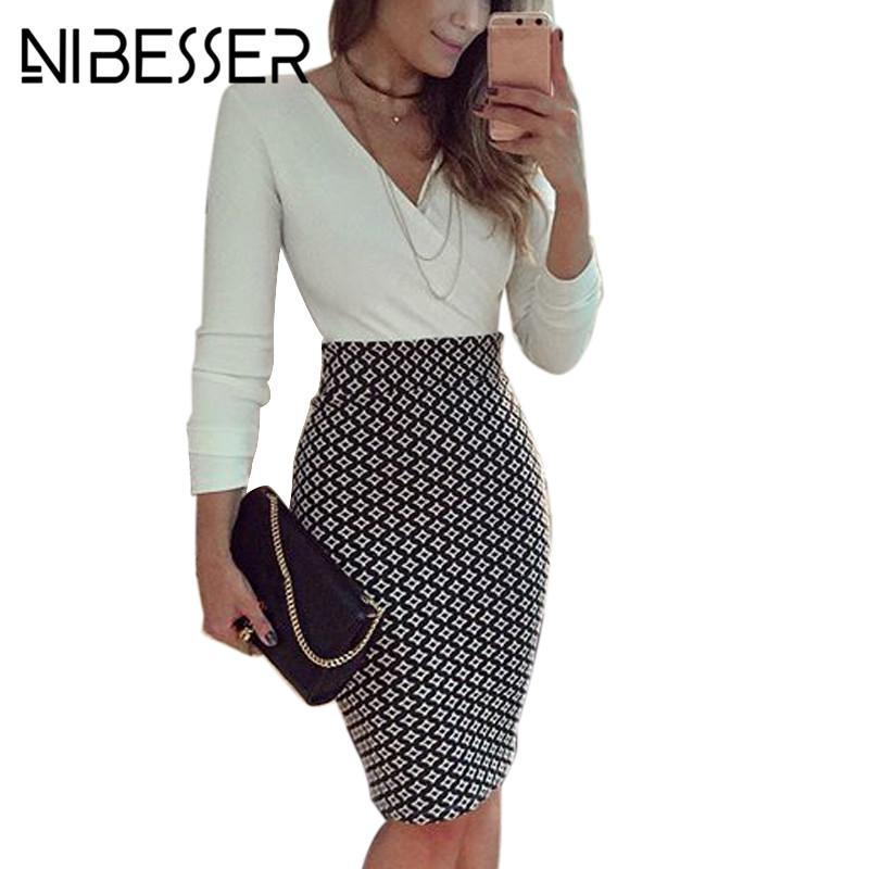 91ac812b8abf NIBESSER Women Sexy Dress Patchwork Deep V-Neck Bodycon Dress Long ...