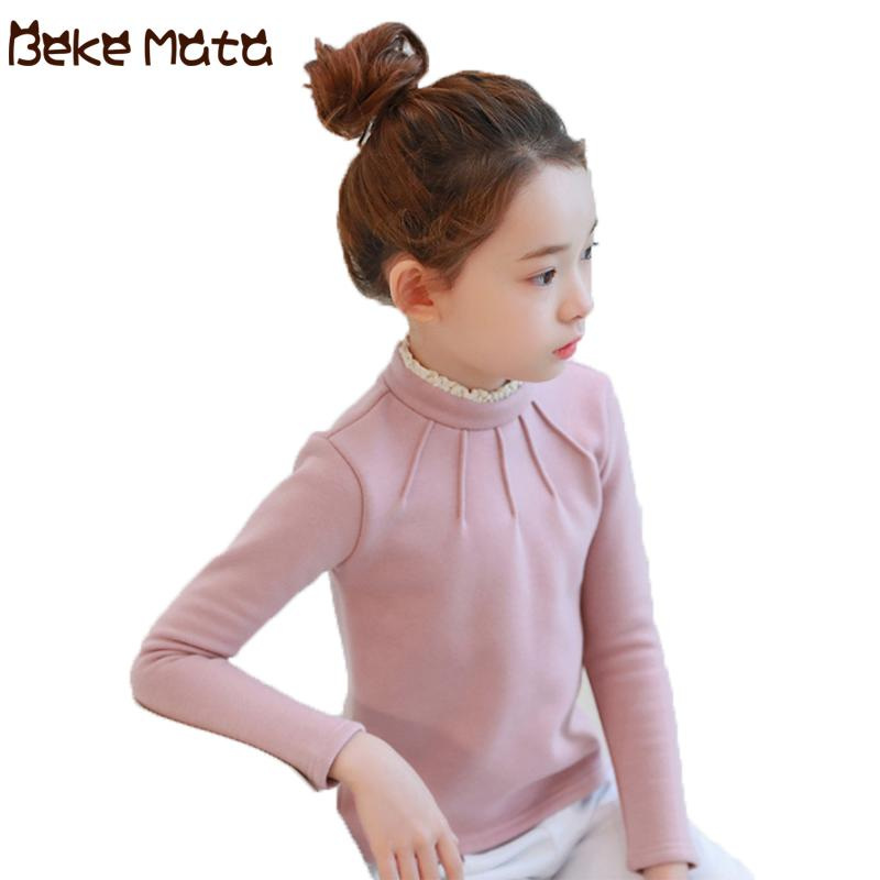 a83921535 BEKE MATA Kids Sweaters For Girls Autumn Winter 2018 Knitted Girls  Turtleneck Underwear Lace Thick Teenage Children's Sweater