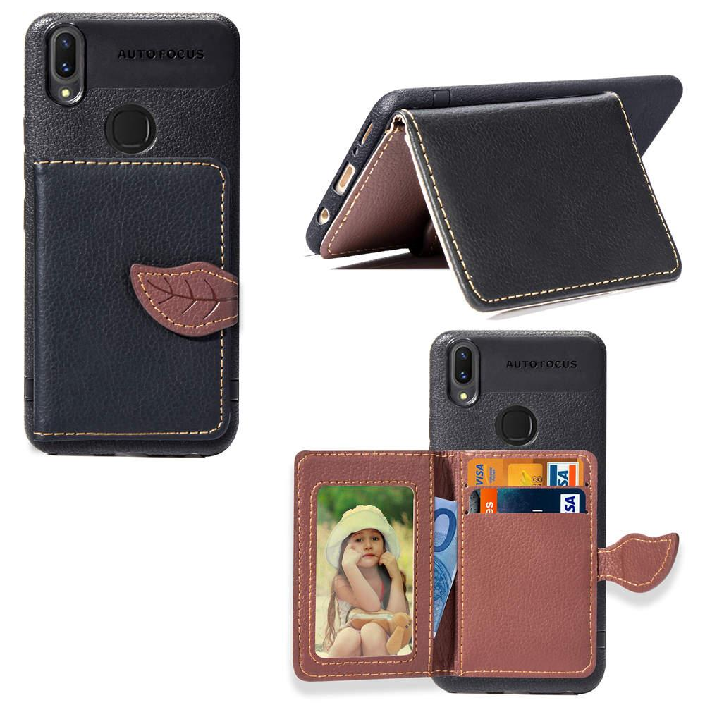 Tpu Mobile Phone Back Case For Vivo V9 Leaf Shape Clip Backside With Wallet Card Holders Cool Cell Cases Customized From