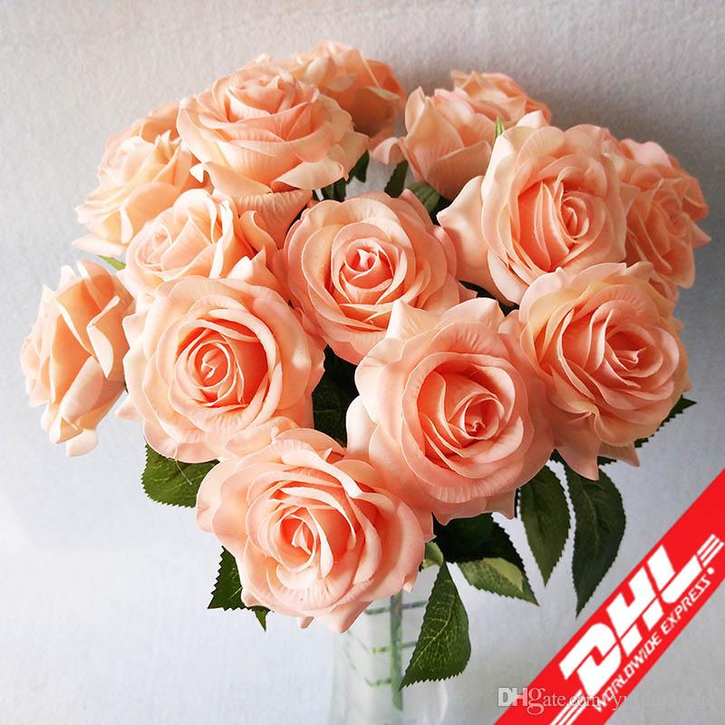 Free shipping DHL Artificial Rose Silk Craft Flowers Real Touch Flowers Elegant Rose Bouquets for Bridal Wedding Bouquet Decoration Flowers