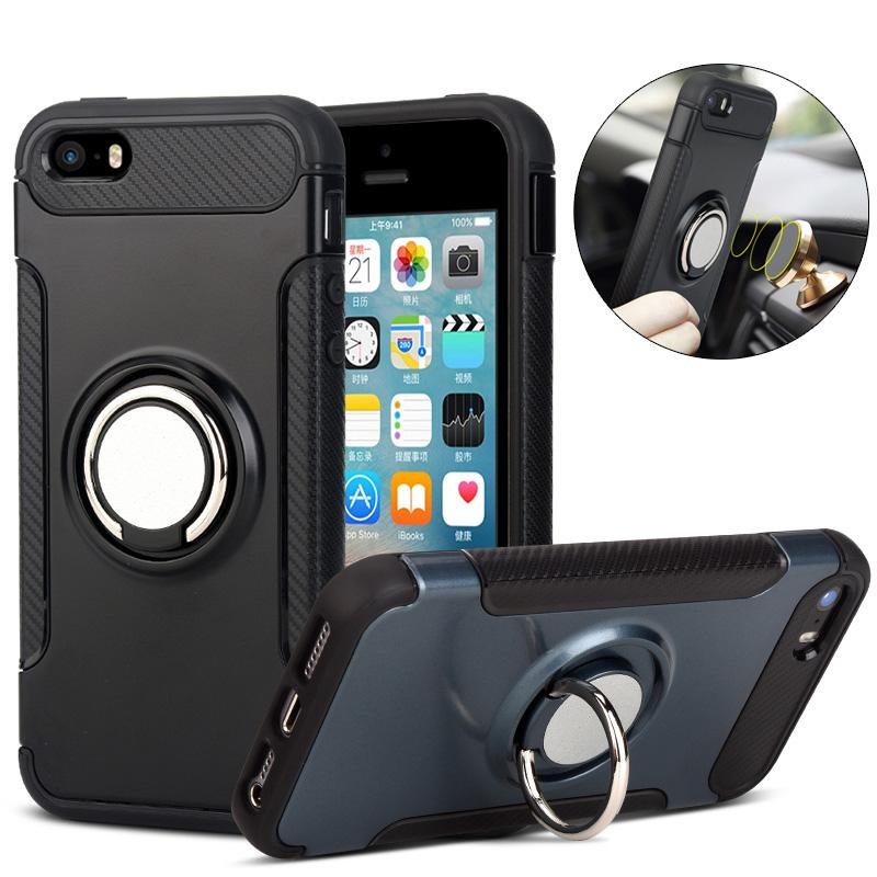 100% authentic 961a0 a4a3d For iphone 5S Case Hard Plastic Case Magnetic Ring Cover For Apple iphone 5  5S SE Cover Case