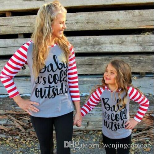 Family Matching daily Clothes Mommy Parent Clothing T-Shirt Leisure Long Sleeve Stripe Tops Mom girl Parent-child Outfits