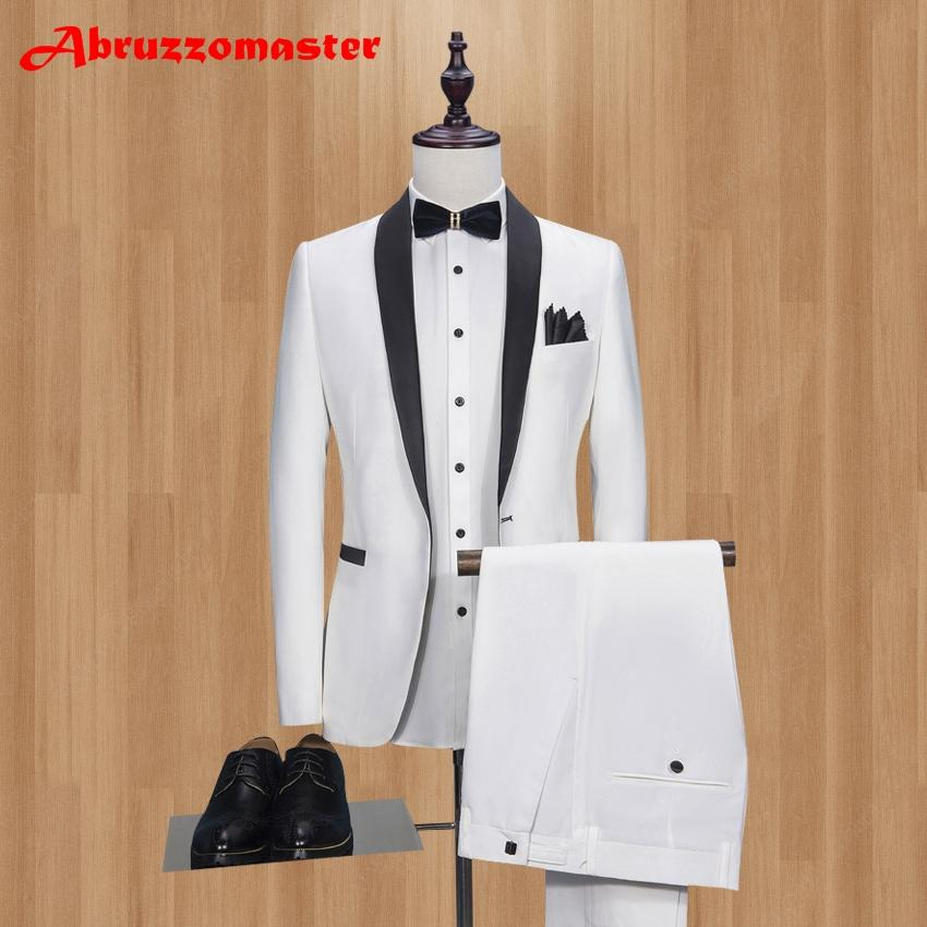 c6eab91b 2019 Men Suit White Tuxedo With Black Lapel Wedding Suit For Man Ternos  Masculino Slim Fit Mens Suits Prom Groom Party Jacket+Pant From Seein, ...