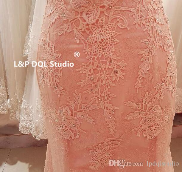 Sexy Blush Bridesmaid Dresses Mermaid Lace Wedding party Dresses Zipper Back with Buttons Sweep Train Lace Wedding guest Dresses