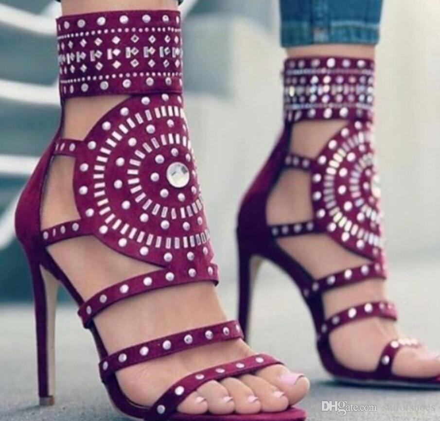 2018 diamante tacchi alti open toe donna sandali sexy Gladiatore cinturini alla caviglia stivali estivi perla scarpe donna partito scarpe