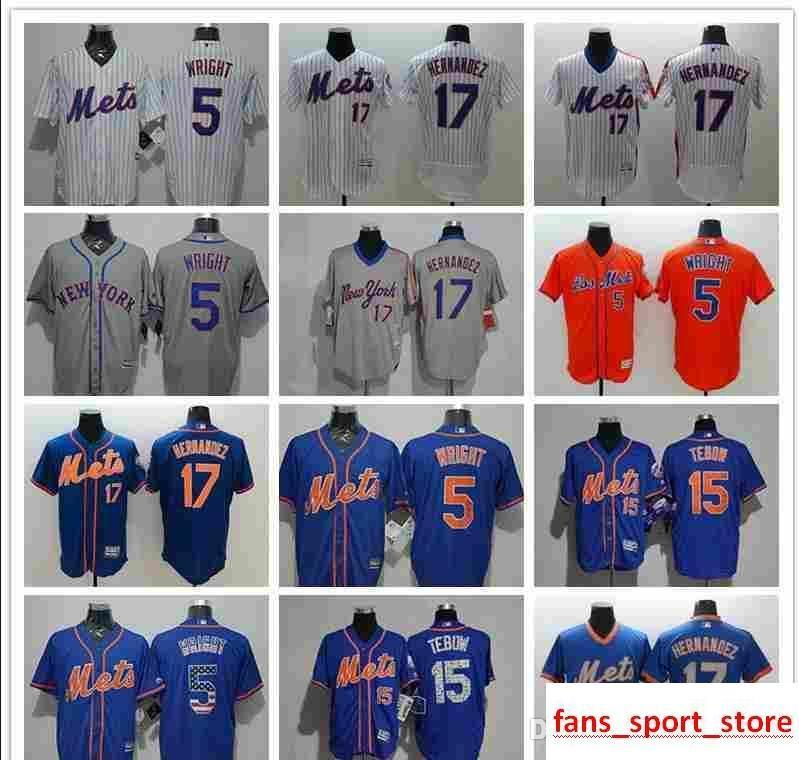 detailed look 93b57 c1528 2019 Men s Women Youth NY Mets Jersey #5 David Wright 15 Tim Tebow 17 Keith  Hernandez Baseball Jerseys
