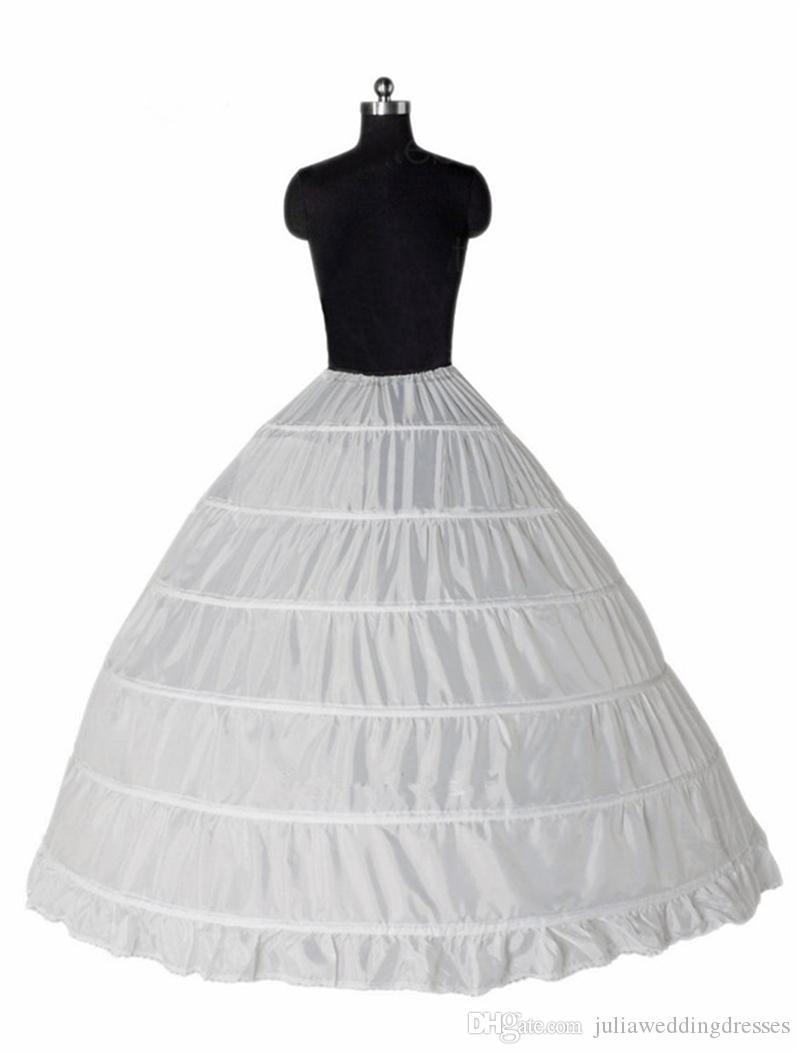 Venta caliente 2018 vestido de bola 6 aro enaguas Underskirt Crinolina completa para los accesorios nupciales del vestido de boda
