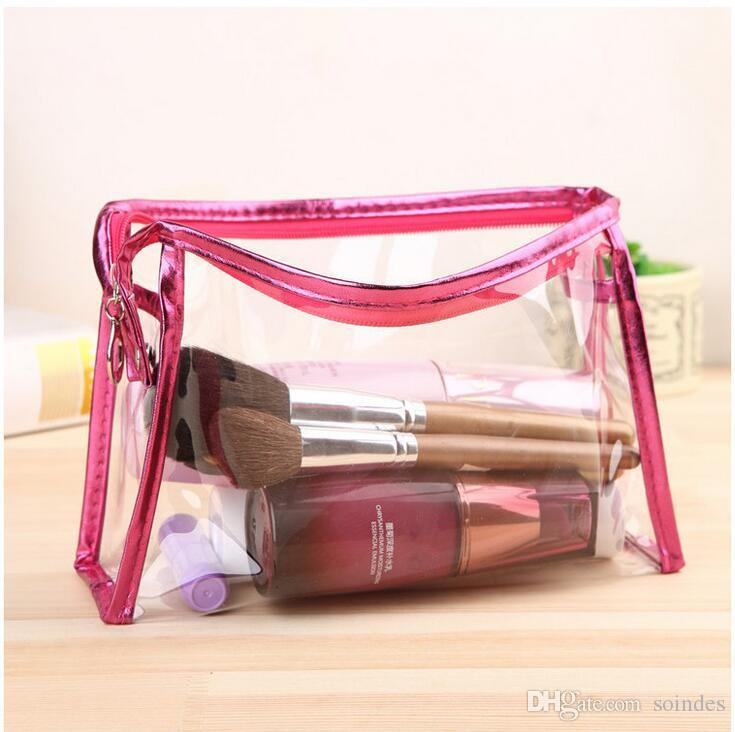 Square Cosmetic Bag New Fashion Pink Blue Transparent Waterproof PVC Toiletry Bags Clear Women Makeup Bag Organizer Storage