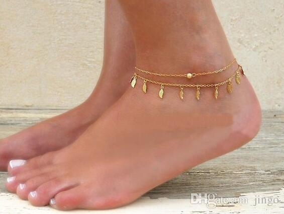 2ed4479e08dd Compre DHL Pulsera De Tobillo Para Mujeres Doble Plata Oro Infinito Amor  Cadena De Playa Pulsera Para El Tobillo Lindo Barato Barefoot Beach Foot  Jewelry A ...
