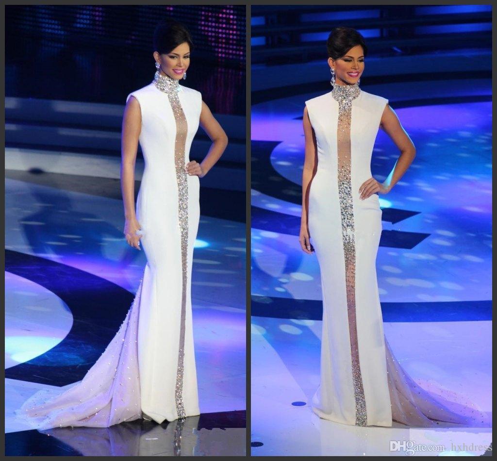 Cristales Miss Universo vestidos de noche blanca de cuello alto de Bling de la manga casquillo sirena de Tulle 2020 Vestidos baratos Celebrity formales Vestidos fiesta
