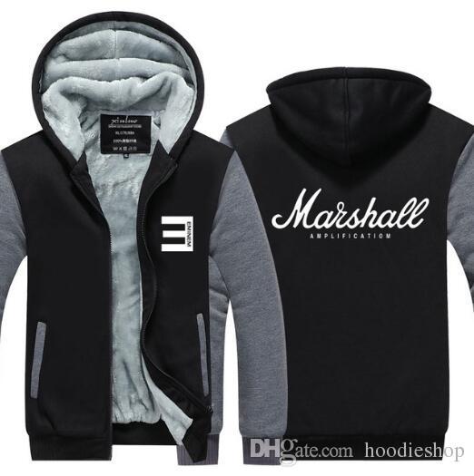 9a8efb1d9 Marshall Amplification Logo Guitar Amp Hoodie Rock Band Music Thicken  Fleece Sweatshirt Zip up Raglan Tops USA EU size Plus size