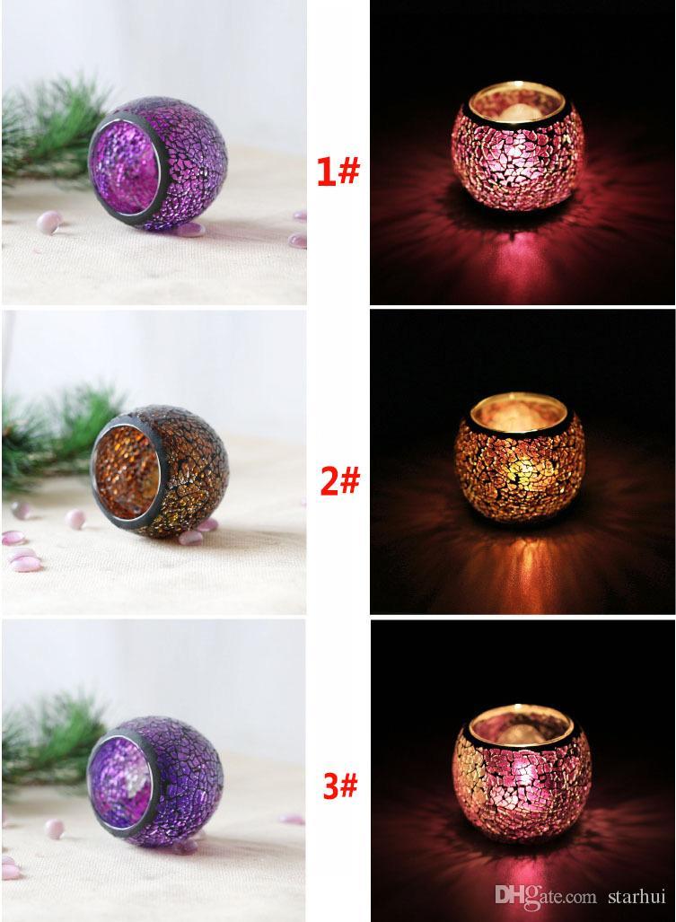 الكريستال فسيفساء الزجاج شمعة حامل شمعدان المركزية لعيد الحب يوم الزفاف الديكور شمعة فانوس لا شمعة WX9-319