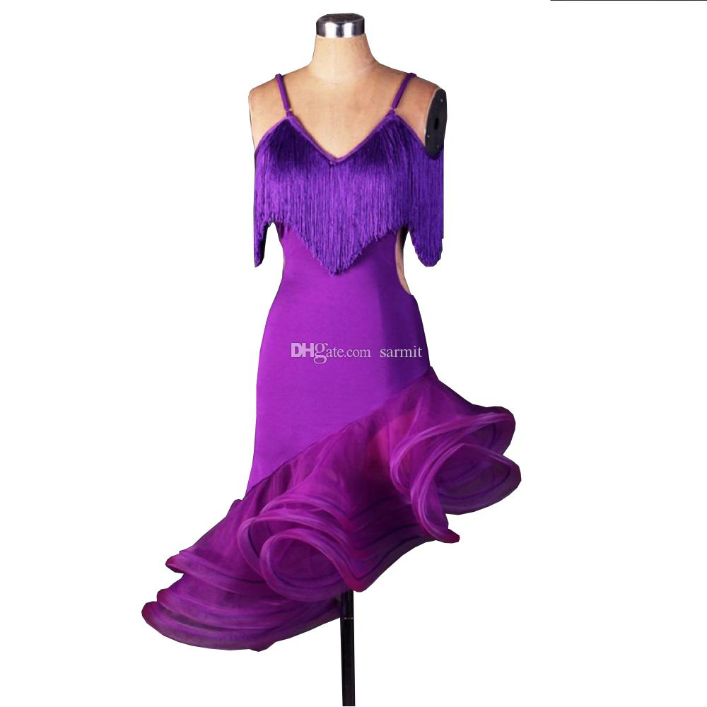 Vestido de Dança Latina Mulheres Salsa Vestido Dança Latina Concorrência Trajes D063 Irregular Hem 5 Cores Cinta Ombro Borlas