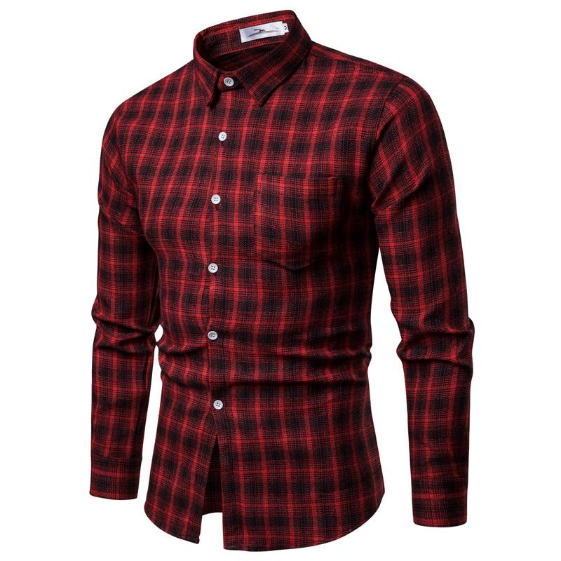 fd00f6f34846f Acheter 2018 Nouvelle Automne Hiver Rouge Chemise À Carreaux Hommes Chemises  À Manches Longues Chemise Homme Coton Homme Chemises À Carreaux De $48.32  Du ...