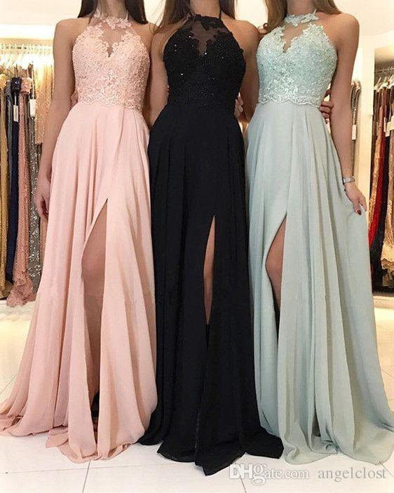 2018 Black Blush Mint Green Prom Dresses Side Split Halter Appliques Lace Chiffon Formal Evening Gowns Sexy Cocktail Party Graduation Wear