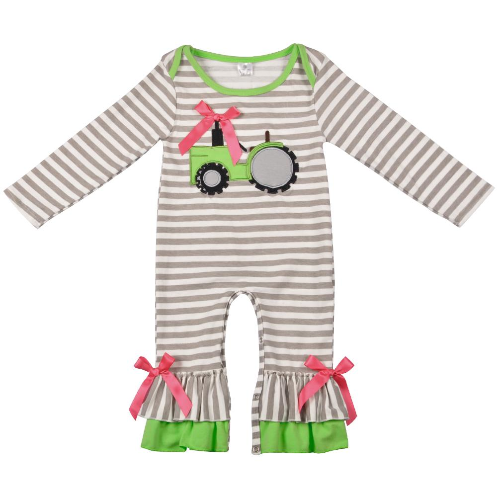 3a81687e536 2019 New Fashion Baby Romper Girls Boutique Clothes Newborn Tractor  Embroidery Gray Stripped Boy Rompers Spring Clothes Y18102008 From Gou08