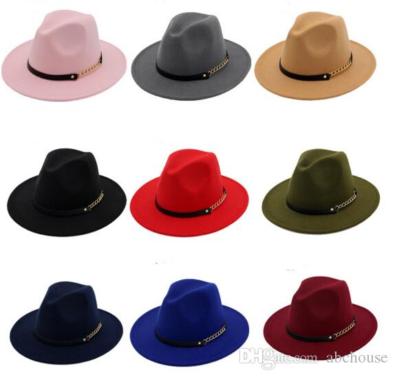 c6540b9e522 Fashion TOP Hats For Men   Women Elegant Fashion Solid Felt Fedora Hat Band  Wide Flat Brim Jazz Hats Stylish Trilby Panama Caps Canada 2019 From  Abchouse
